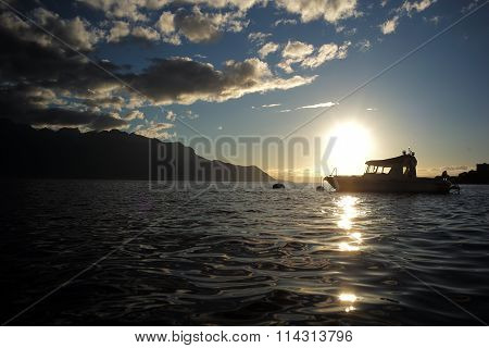 Motor Boat On Seascape Background