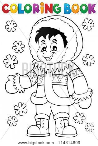 Coloring book Inuit thematics 1 - eps10 vector illustration.