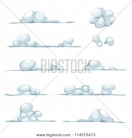 Cartoon Clouds, Smoke, Stone, Snow And Boulders Set