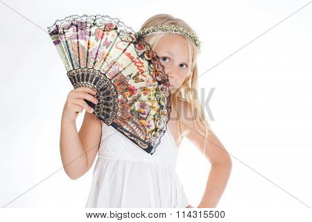 girl, blonde with a fan in hand