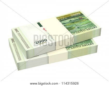Malagasy ariary bills isolated on white background. Computer generated 3D photo rendering.