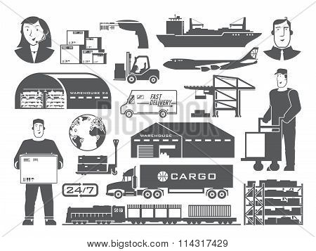 Logistics vector black and white icons