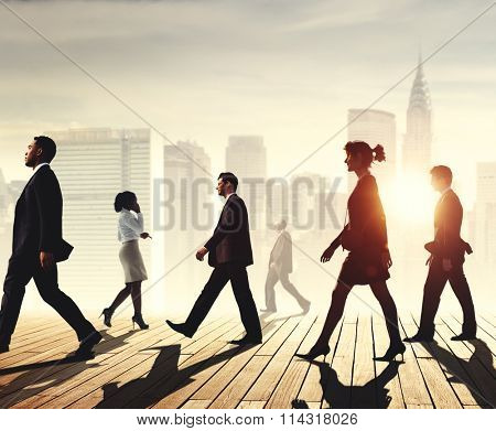 Business Team Walking Teamwork Cityscape Concept
