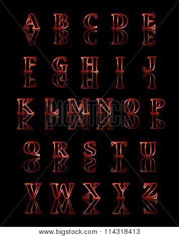 Gold Reflected Alphabet