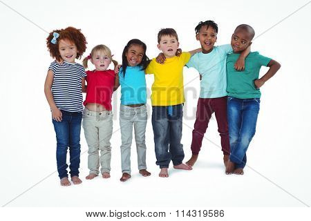 Cute barefooted kids hugging and looking at camera on white screen