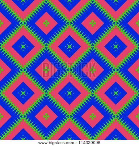 Seamless oblique checkered red blue green pattern