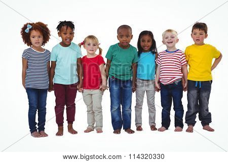 Cute barefooted kids looking at camera on white screen