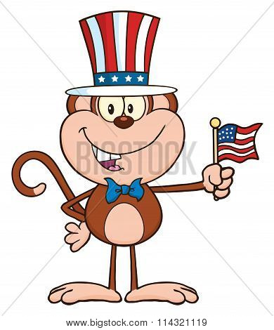 Patriotic Monkey Cartoon Character