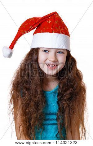 baby girl  in Christmas cap
