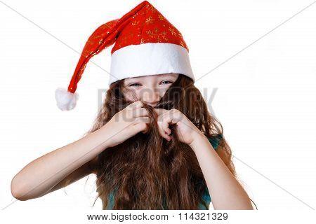 baby girl Santa Claus in a Christmas cap