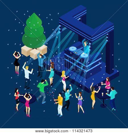 People Celebrating New Year Illustration