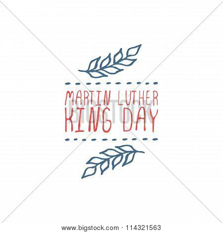 Vector handdrawn badge for Martin Luther King Day