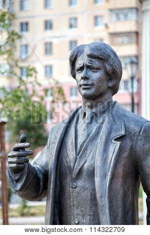 Monument to the Russian poet Sergei Yesenin. Belgorod. Russia
