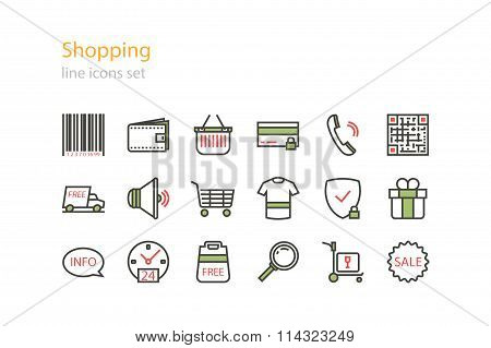 Shopping. Line icons set. Stock vector.