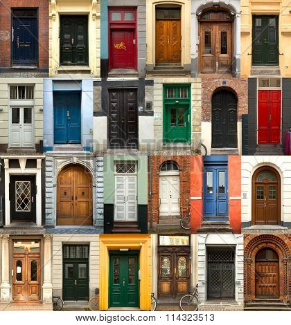A collage of 24 danish doors of different colors