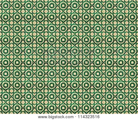 Collage of green pattern tiles in Lisbon, Portugal repeated to create a seamless, tillable pattern.