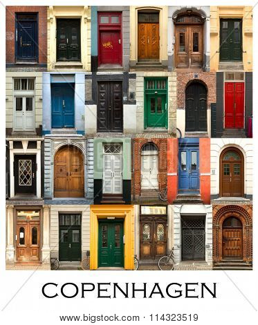 A collage of 24 doors presented in a white border with the city name Copenhagen.