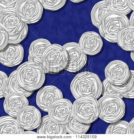 White fractal roses seamless pattern on blue background