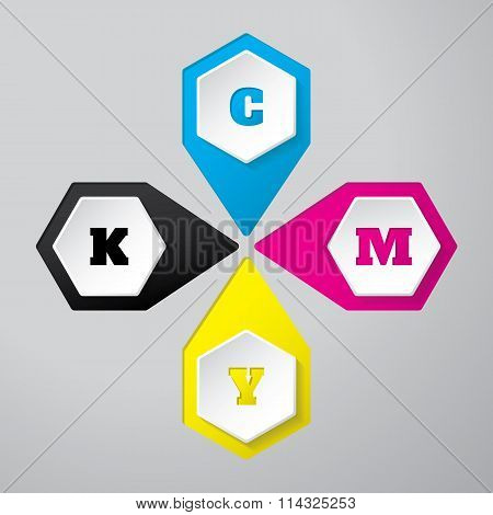 Cmyk Wallpaper With 3D Hexagon Buttons