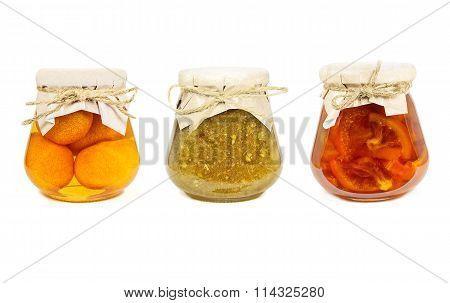 Fruit Jams Isolated On White Background