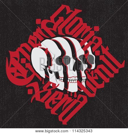 Sliced Skull with latin gothic lettering - Cineri gloria sera venit - Fame to the dead comes to late. Vector calligraphic t-shirt design on black canvas background