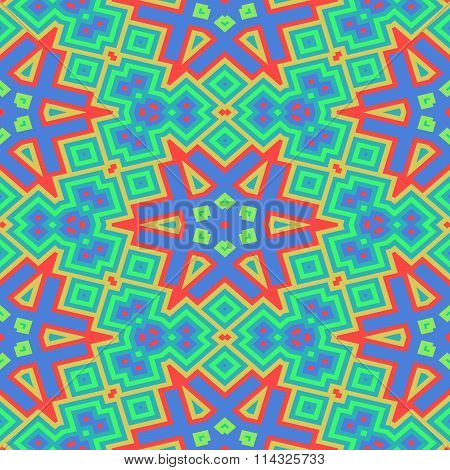 Abstract shining turquoise blue orange red starry decorative seamless ornamental geometric pattern