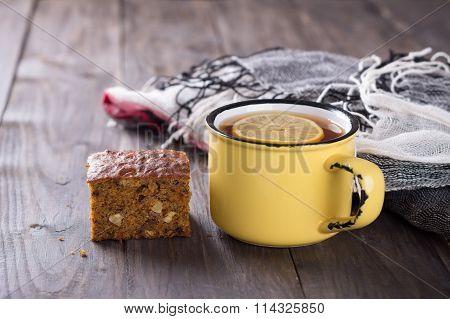 Cup Of Tea With Lemon And A Slice Of Homemade Carrot And Banana Cake