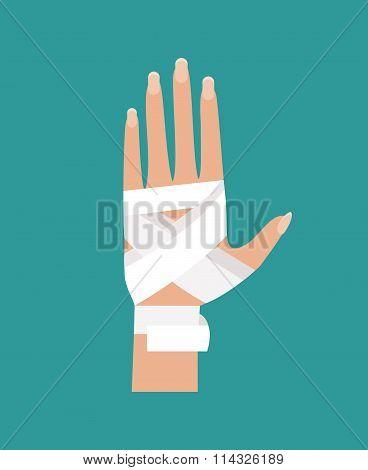 Bandaged Hand. Vector Illustration