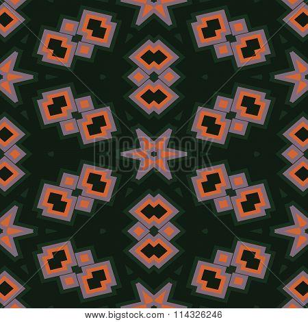 Abstract contrast shining orange pink green decorative seamless ornamental geometric pattern