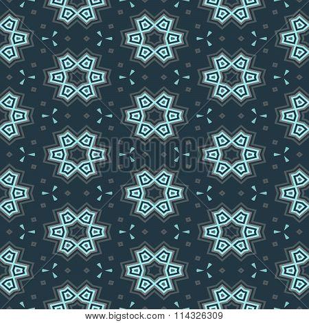 Turquoise blue floral decorative geometric seamless pattern