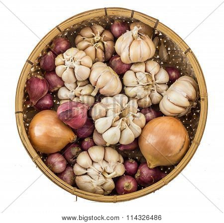 Top View Of Garlic Shallot Onion Isolated On White
