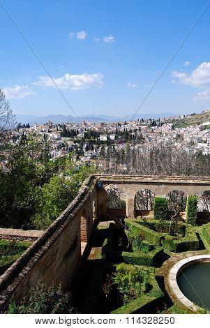 Generalife garden and city view, Granada.