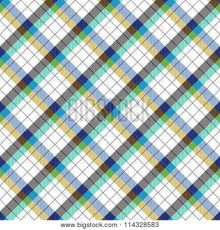 Skew check blue, green, brown, black and white pattern