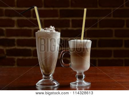 hot chocolate with sour cream brick wall background