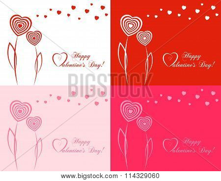 Set Of Banners For Design Posters Or Invitations On Valentine's Day With Cutest  Hearts Symbol A