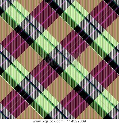 Abstract yellow lilac red green brown checked crossover striped diagonally seamless pattern