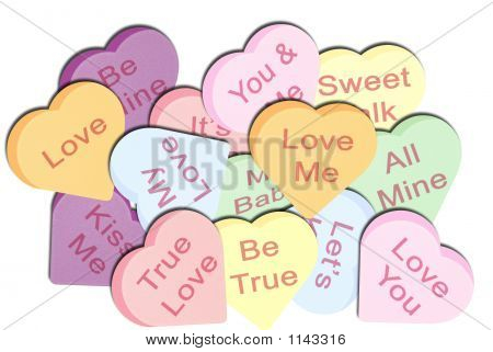 Pile Of Conversation Hearts On White