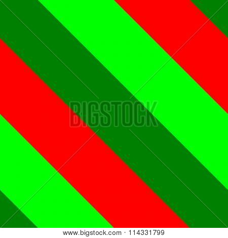 Wide oblique red green stripes seamless pattern