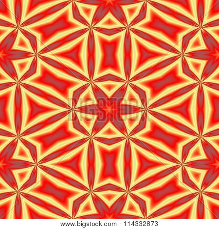 Red yellow grungy kaleidoscopic seamless retro pattern with six-pointed stars motive