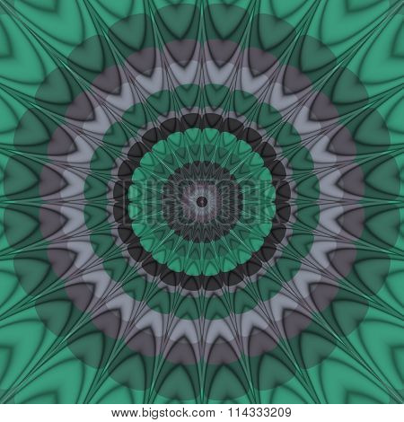 Spiky lavender violet, spanish viridian, circular decorative pattern
