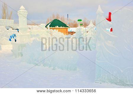 Ice town in Omsk, Siberia