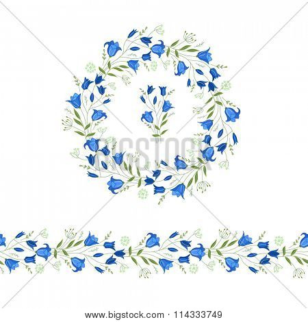 Floral round garland and endless pattern brush made of bluebells. Flowers for romantic and easter design, decoration,  greeting cards, posters, advertisement.