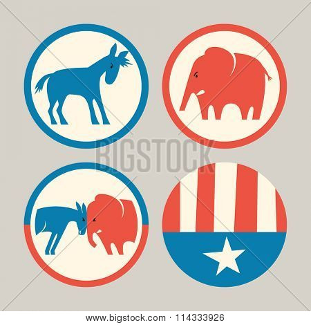 campaign buttons icons of republican elephant and democrat donkey