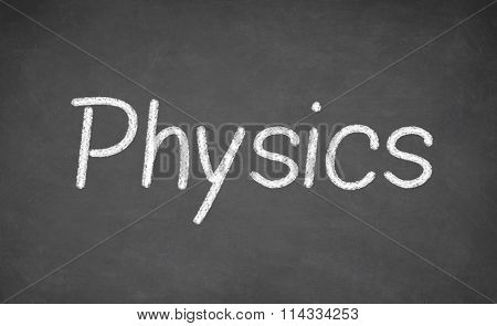 Physics lesson on blackboard or chalkboard.