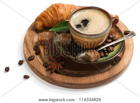 Cup Of Coffee With Croissant