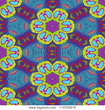 Abstract yellow blue pink purple faded seamless ornamental kaleidoscopic pattern