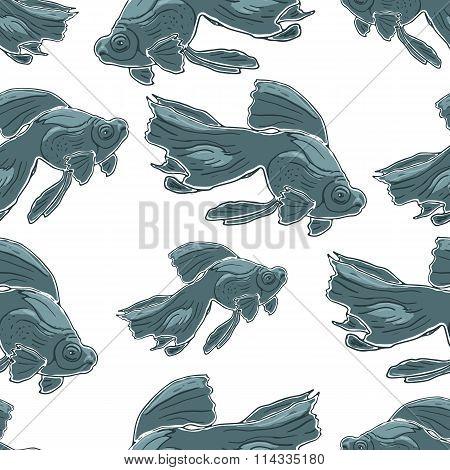 Seamless pattern with Black Moor Goldfish. Hand drawn vector illustration