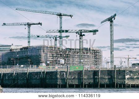 Modern Development And Construction At Hafencity, Hamburg, Germa