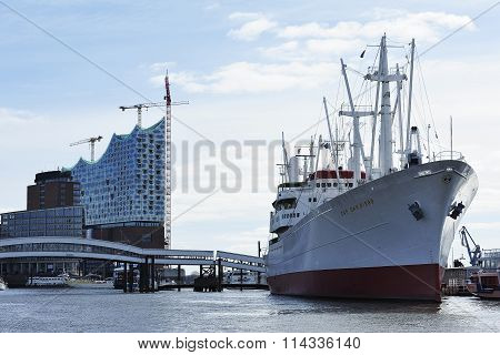 Construction Of The Elbe Philharmonic And Cargo Ship Ms Cap San
