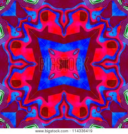 Kaleidoscopic decorative digitally rendered pattern